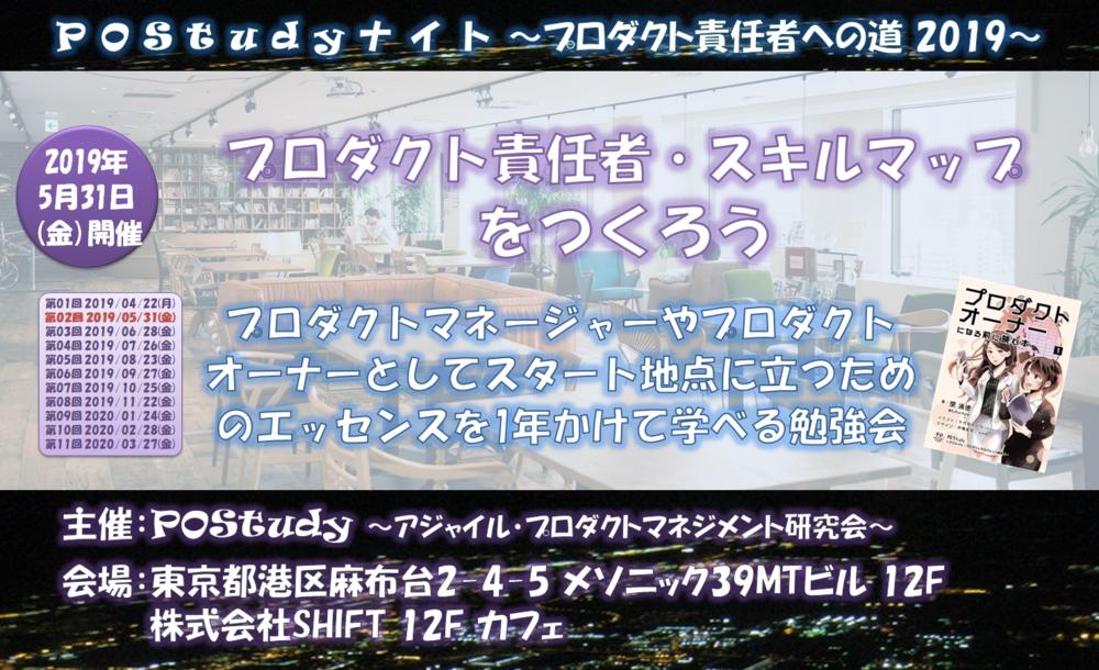 POStudyナイト#02 ~プロダクト責任者への道 2019~ プロダクト責任者・スキルマップをつくろう【2019/05/31(金)】